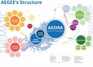 Die Struktur von AEGEE basiert auf einem europäischen Level (ein europäischer Vorstand in Brüssel sowie Kommissionen, Komitees, Arbeitsgruppen und multinationale Projektteams) und einem lokalen Level aus über 200 Antennen, welche das Netzwerk bilden.