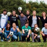Playing soccer golf with ERASMUS students