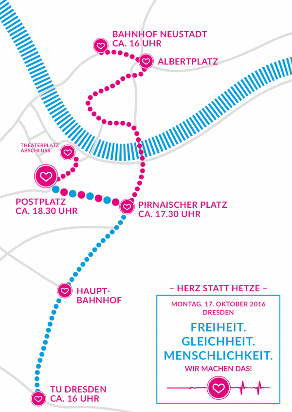 Routes of Demonstration Herz statt Hetze 17th October 2016